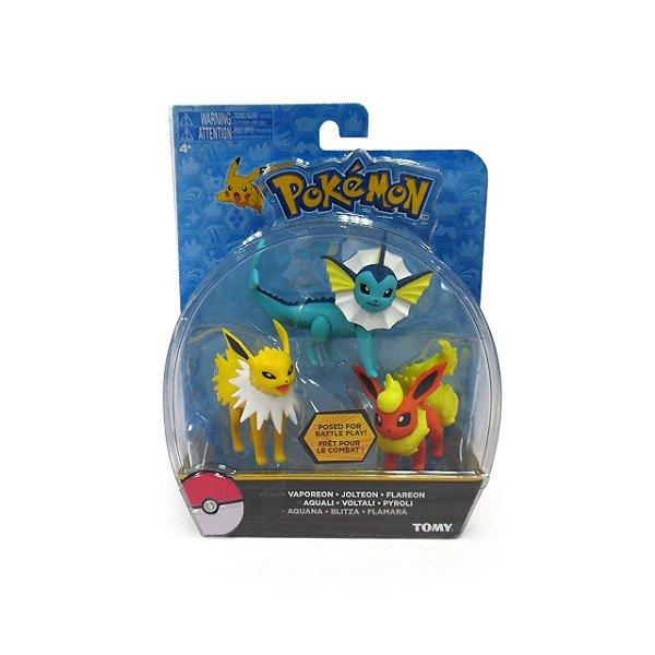 Pokémon Pack com 3 Figuras - Vaporeon, Jolteon e Flareon