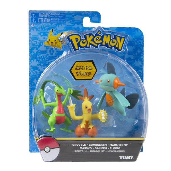 Pokémon Pack com 3 Figuras - Grovyle, Combusken e Marshtomp