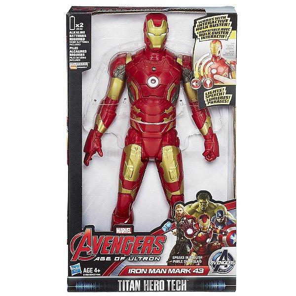Boneco Titan Hero Tech Avengers Iron Man Eletrônico 30 cm