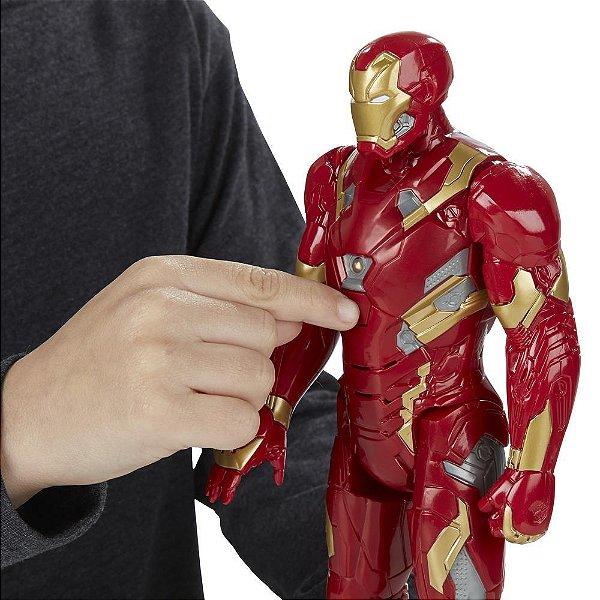 Boneco Titan Hero Tech Civil War Iron Man Eletrônico 30 cm