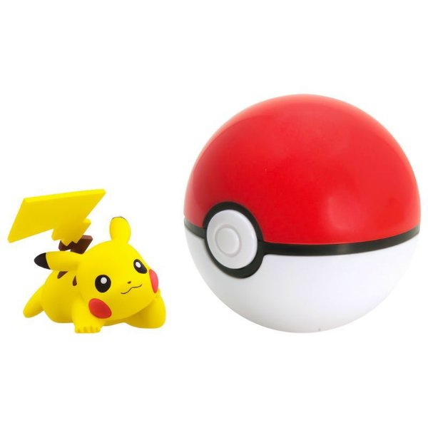 Pokémon Mini Figura com Pokébola - Pikachu e Poke Ball
