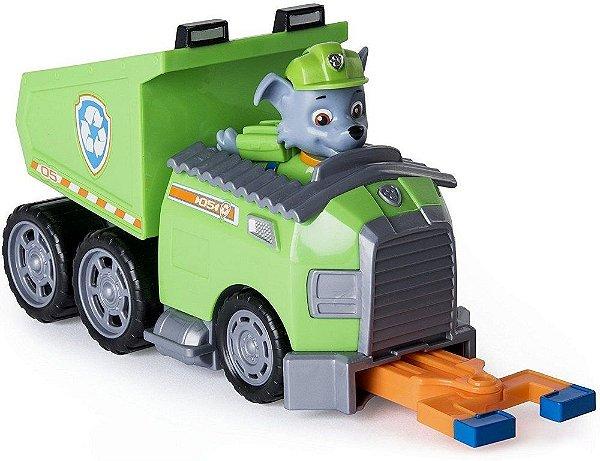 Patrulha Canina - Boneco com Veículo Rocky's Recycle Dump Truck