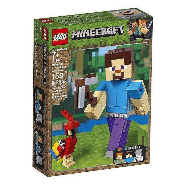 Lego Minecraft - Minecraft BigFig Steve com Papagaio 21148