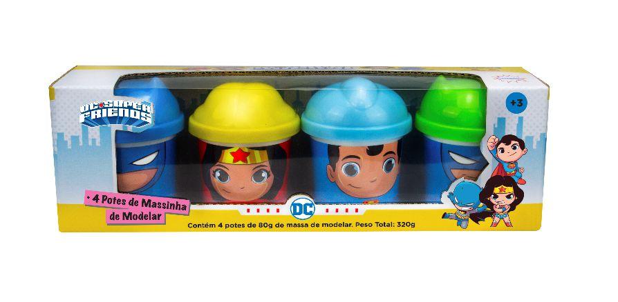 Dc Super Friends Massinha 4 Potes 80g Superman, Batman e Mulher Maravilha