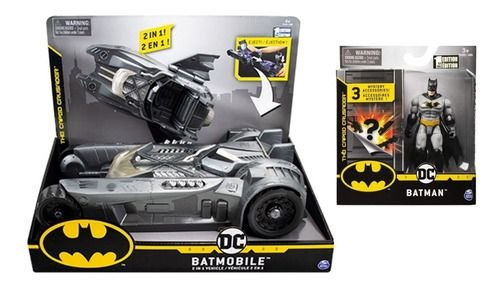 Veículo 2 Em 1 Dc Comics - Batmóvel + Figura Batman 9cm