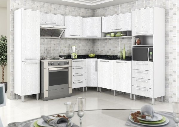 Cozinha Evolution Modulada de Canto - Branco