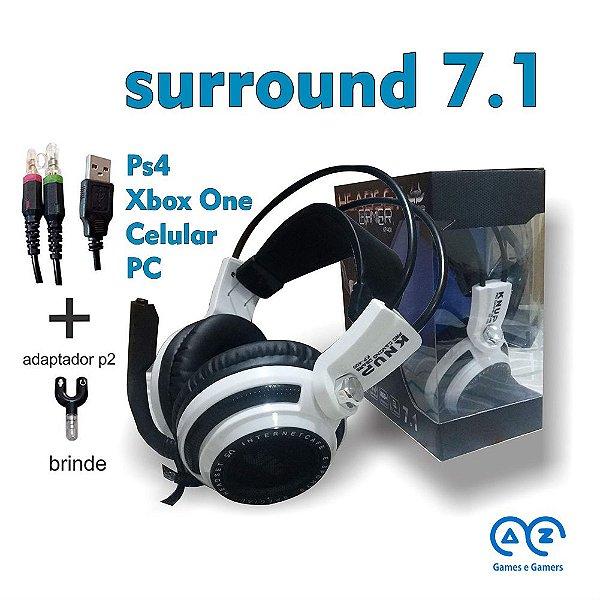 Headset Gamer 7.1 Knup Kp-400 PC, XBox One, Playstation 4, Celular, Brinde Splitter headset