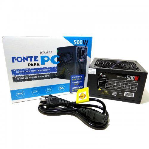 Fonte de Alimentação ATX PowerX 500W real Bivolt KP-522 kNUP AZ Importados