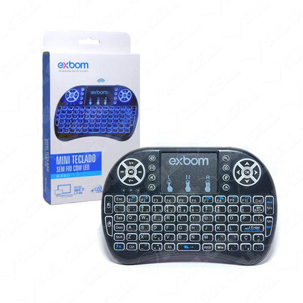 Mini Teclado Sem Fio com Led e Touchpad Smart TV e TV Box Exbom BK-BTi8LED