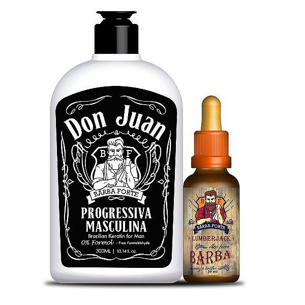 Progressiva Masculina Don Juan e Óleo para Barba Lumberjack Barba Forte (2 Produtos)