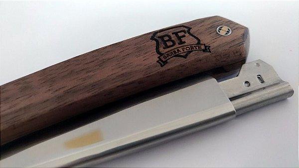Navalha Elite Barba Forte em madeira Walnut Wood
