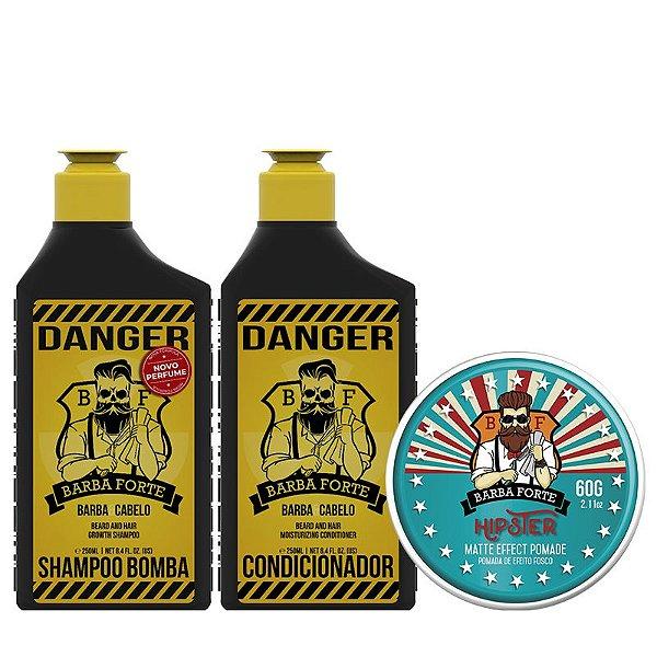 Combo Shampoo + Condicionador Danger & Pomada Hipster (3 produtos)