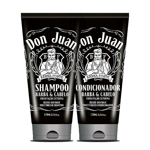 Kit Shampoo e Condicionador para Barba e Cabelos Don Juan Barba Forte 2x170ml
