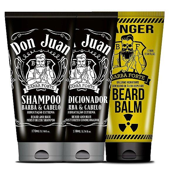 Combo Barba e Cabelo Don Juan + Beard Balm Danger Barba Forte (3 Produtos)