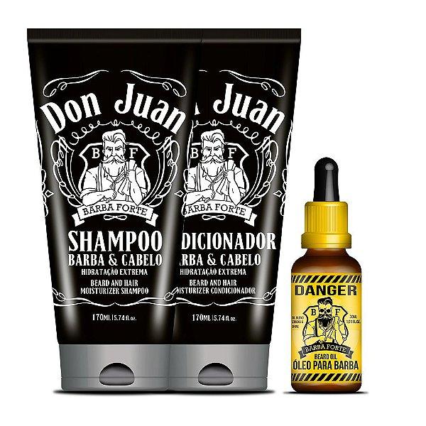 Combo Barba Forte Shampoo e Condicionador Don Juan + Óleo para Barba Danger (3 Produtos)