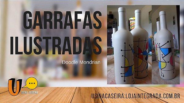 Garrafas Ilustradas Doodle Mondrian