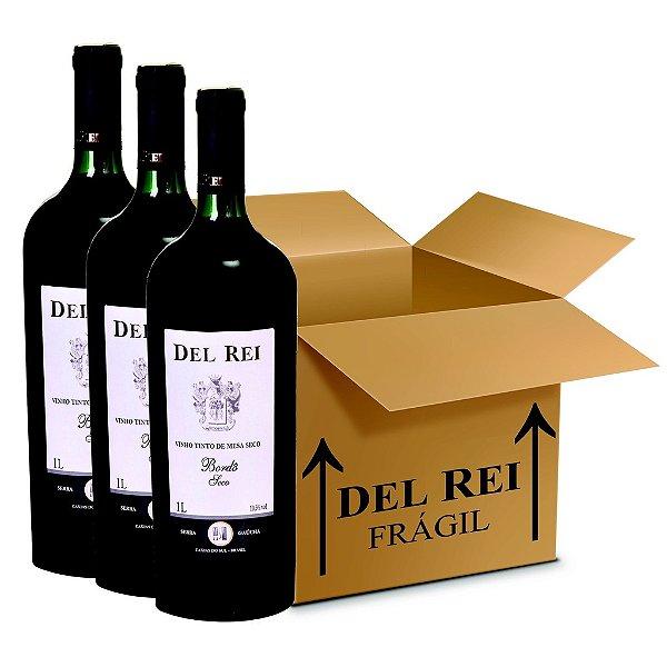 Vinho Del Rei Tinto Seco Bordo 1l - Box Com 120 Unidades