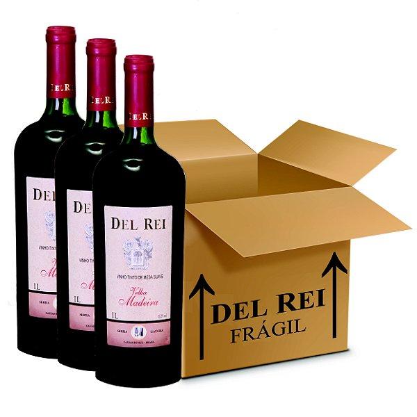 Vinho Del Rei Tinto Velha Madeira 1l - Box Com 120 Unidades