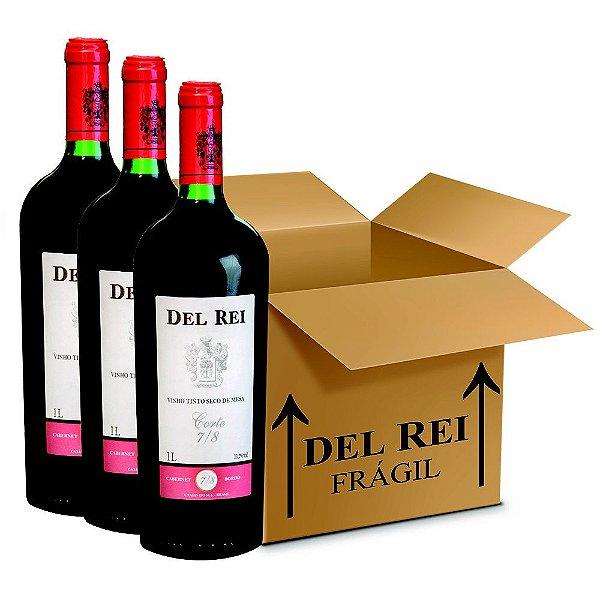 Vinho Del Rei Tinto Seco 7-8 Cabernet e Bordo 1l - Box Com 36 Unidades