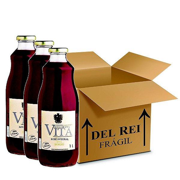 Suco De Uva Vita Rose Integral 1l - Box Com 12 Unidades