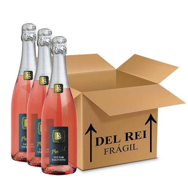 Espumante Moscatel Rosé Vector Valentino 750ml  - Box Com 12 Unidades
