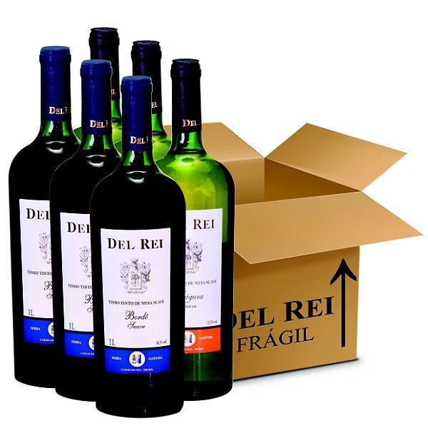 Box Misto - Vinho Del Rei com 6 Tinto Suave Bordo + 6 Branco Suave Niagara 1l - Box Com 12 Unidades