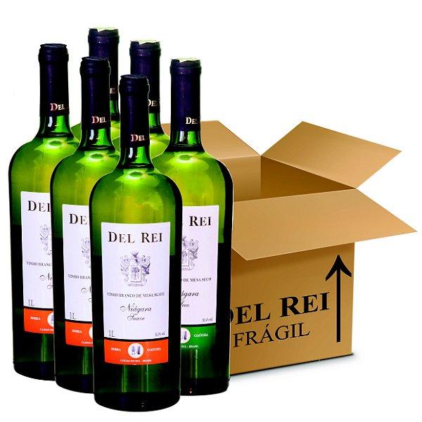 Box Misto - Vinho Del Rei com 6 Branco Seco + 6 Branco Suave Niagara 1l - Box Com 12 Unidades