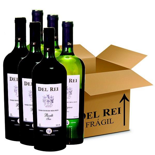 Box Misto - Vinho Del Rei com 6 Tinto Seco Bordo + 6 Branco Seco Niagara 1l - Box Com 12 Unidades