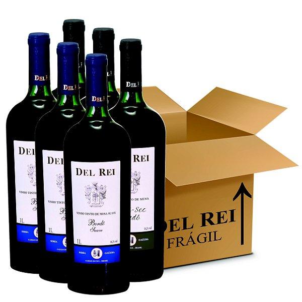 Box Misto - Vinho Del Rei com 60 Tinto Suave + 60 Tinto demi-sec Bordo 1l - Box Com 120 Unidades