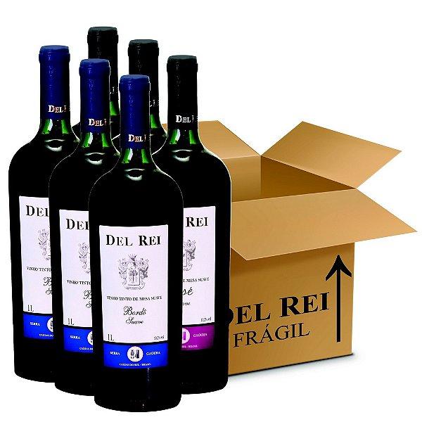 Box Misto - Vinho Del Rei com 6 Tinto Suave Bordo + 6 Rose Suave 1l - Box Com 12 Unidades