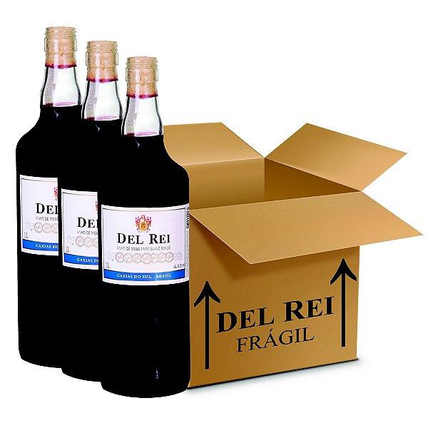 Vinho Colonial Del Rei Tinto Suave Bordo 1l - Box Com 12 Unidades