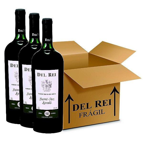 Vinho Del Rei Tinto Demi-Sec Bordo 1l - Box Com 120 Unidades