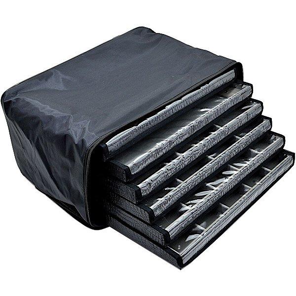 Bolsa com 6 Bandejas Grandes para Joias  com capa - Cinza