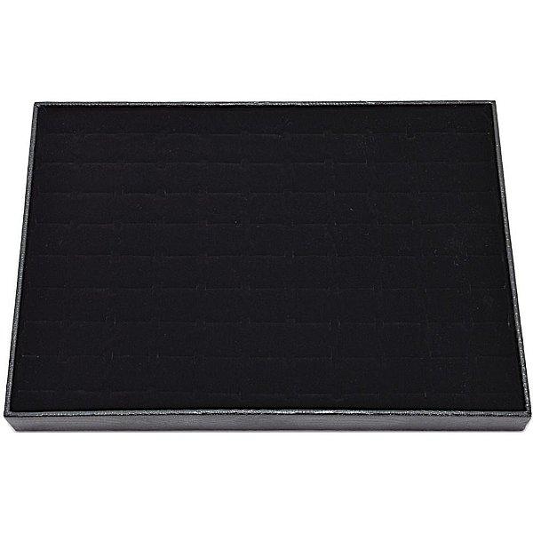 Bandeja para 99 anéis em 34,5 x 24,5 x 3 cm Corino Croco com veludo preto