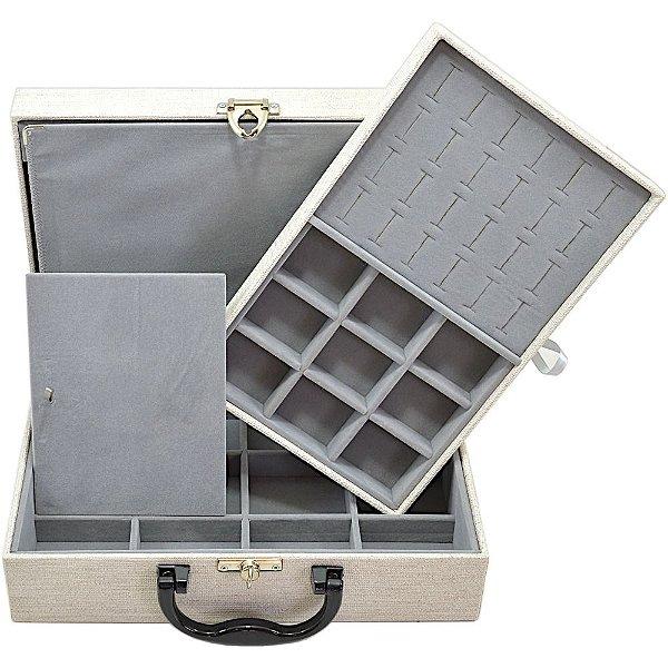 Maleta de Joias Dupla Media 29,5 x 19,5 x 9,5 cm - Com Dobradiça Milão Palha com Cinza