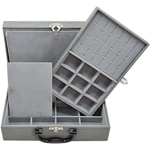 Maleta de Joias Dupla Media 29,5 x 19,5 x 9,5 cm - Com Dobradiça Milão Cinza com Cinza