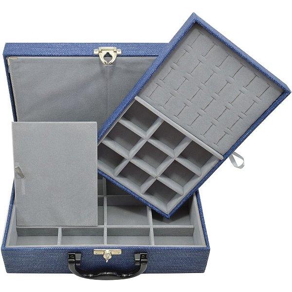 Maleta de Joias Dupla Media 29,5 x 19,5 x 9,5 cm -  Com Dobradiça Milão Azul Cinza