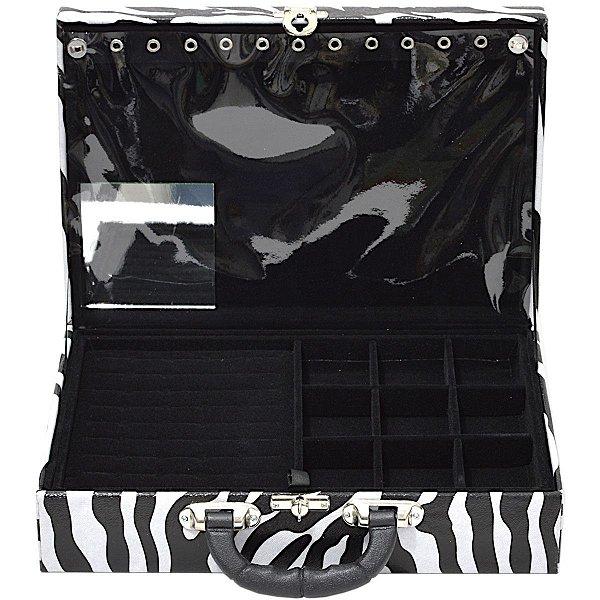 Maleta de Joias Dupla Grande 35 x 23,5 x 9,5 cm - Com Espelho Corino Zebra e interior Preto