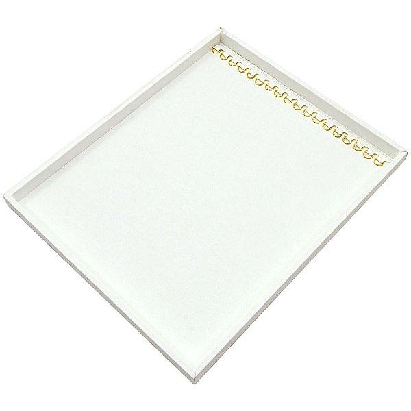 Bandeja Grande Correntes com Argolas 36,5 x 29,5 x 2,3 cm - Sem Capa Corino Branco