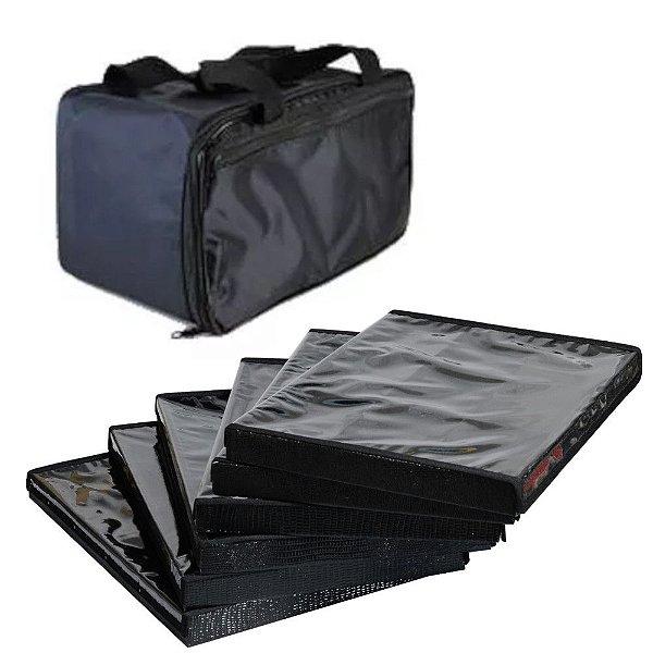Bolsa com 6 Bandejas Grandes para Jóias  com capa - Nylon - Preta