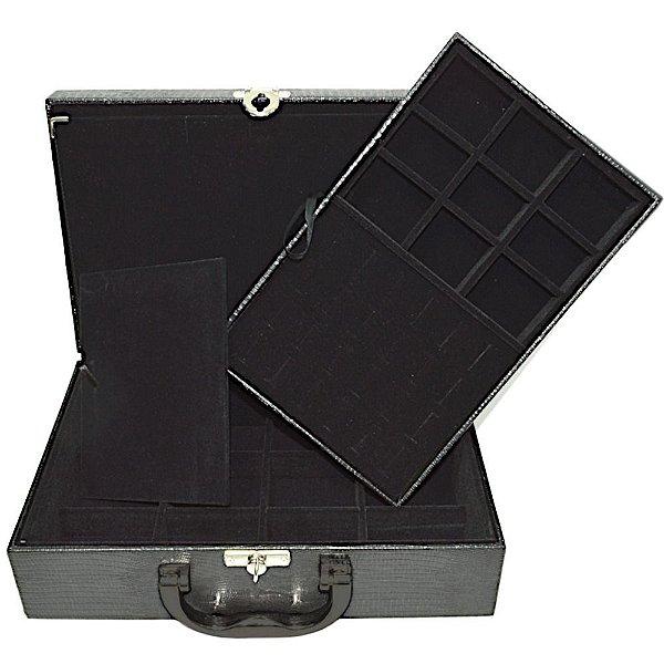 Maleta de Joias Dupla Media 29,5 x 19,5 x 9,5 cm - Com Dobradiça Corino Croco Preto com Preto