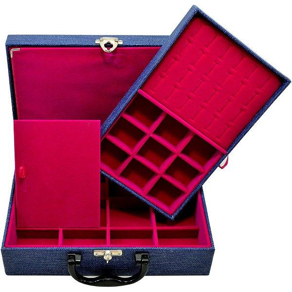 Maleta de Joias Dupla Media 29,5 x 19,5 x 9,5 cm -  Com Dobradiça Milão Azul Pink
