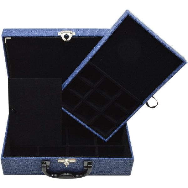 Maleta de Joias Dupla Media 29,5 x 19,5 x 9,5 cm -  Com Dobradiça Milão Azul com Preto