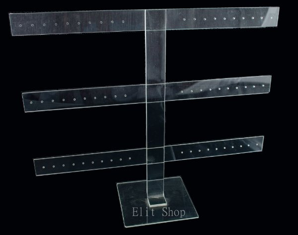 Expositor 3 Hastes em Acrilico para Brincos - 48 Furos -A13 - Cristal