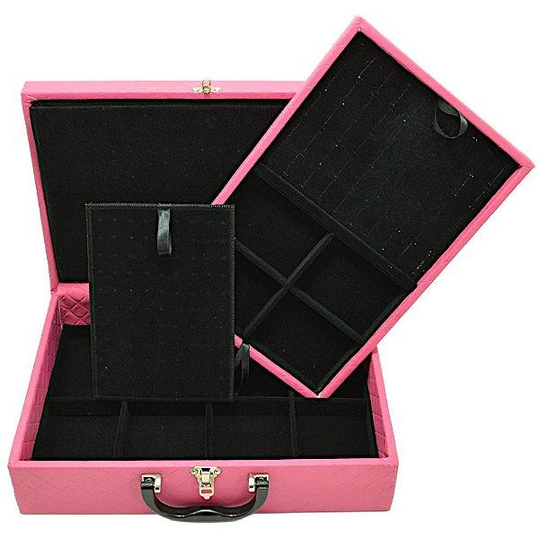 Maleta Dupla Grande Corino Dijon Pink com protetor de correntes em veludo Preto