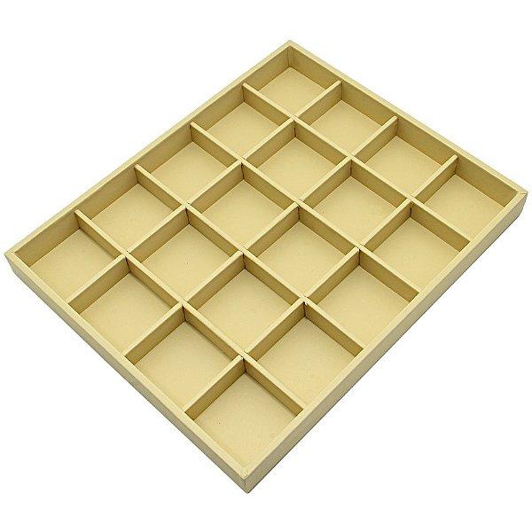 Bandeja Grande 20 Quadriculados 36,5 x 29,5 x 3,3 cm - Corino Marfim  Sem Capa
