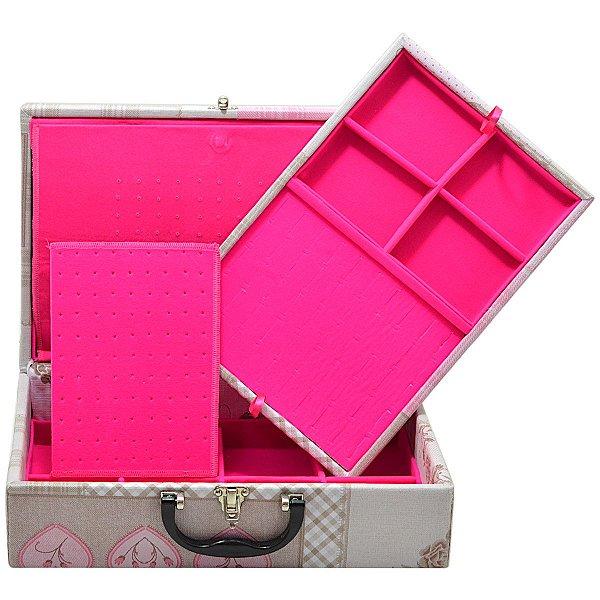 Maleta Dupla Grande Corino Home Sweet protetor de correntes em veludo Pink