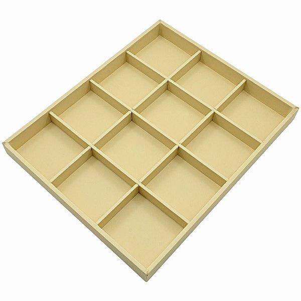 Bandeja Grande 12 Quadriculados 36,5 x 29,5 x 3,3 cm - Corino Marfim sem capa