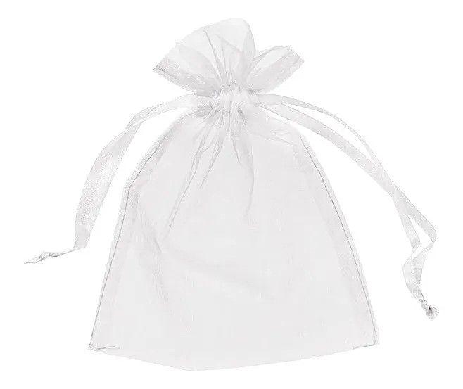 Saquinhos de Organza 10x15 cm Branco - 100 Unidades