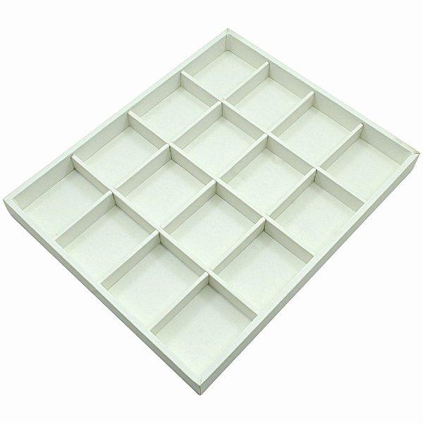 Bandeja Grande 16 Quadriculados 36,5 x 29,5 x 3,3 cm - Corino Branco  Sem Capa